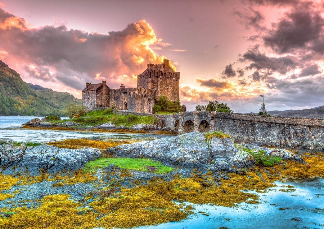 Пъзел Bluebird от 3000 части - Замъкът Елън Долан, Шотландия - 1