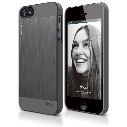 Elago S5 Outfit Matrix Aluminum + HD Clear Film за iPhone 5 -  тъмносив - 1