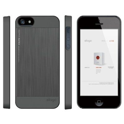 Elago S5 Outfit Matrix Aluminum + HD Clear Film за iPhone 5 -  тъмносив - 2