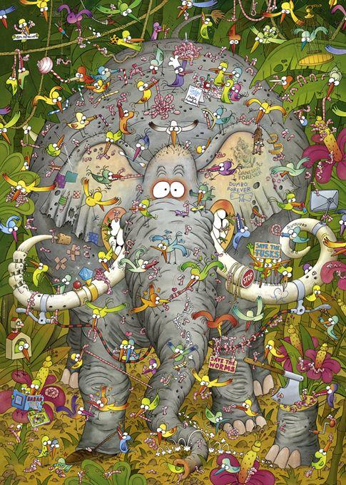 Пъзел Heye от 1000 части - Животът на слона, Марино Дегано - 2