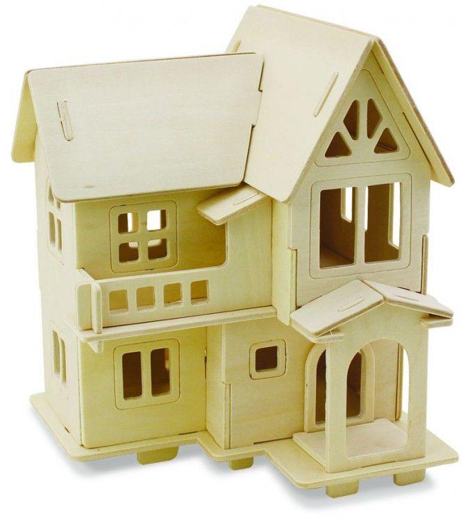 Дървен 3D пъзел Robo Time от 33 части – Модел 4 – Европейска къща - 1