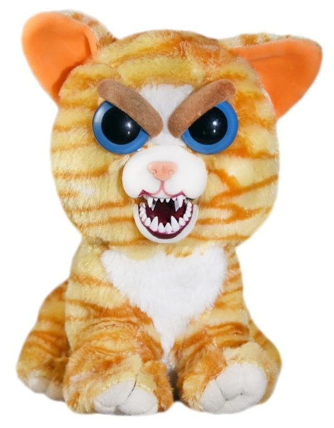 Плашеща плюшена играчка WMC Toys Feisty Pets - Оранжева котка - 3