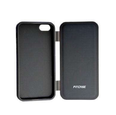 FitCase TPU Flip Case  силиконов кейс тип портфейл за iPhone 5 (черен) - 1