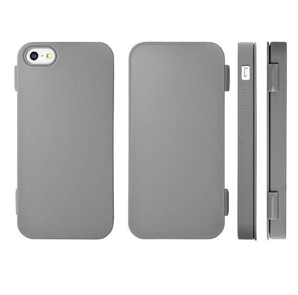 FitCase TPU Flip Case  силиконов кейс тип портфейл за iPhone 5 (сив) - 1