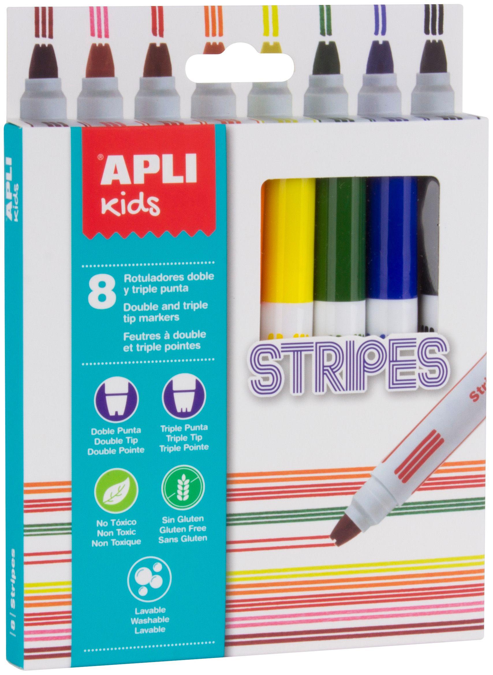 Комплект флумастери Apli - Двойна линия, 8 цвята - 1