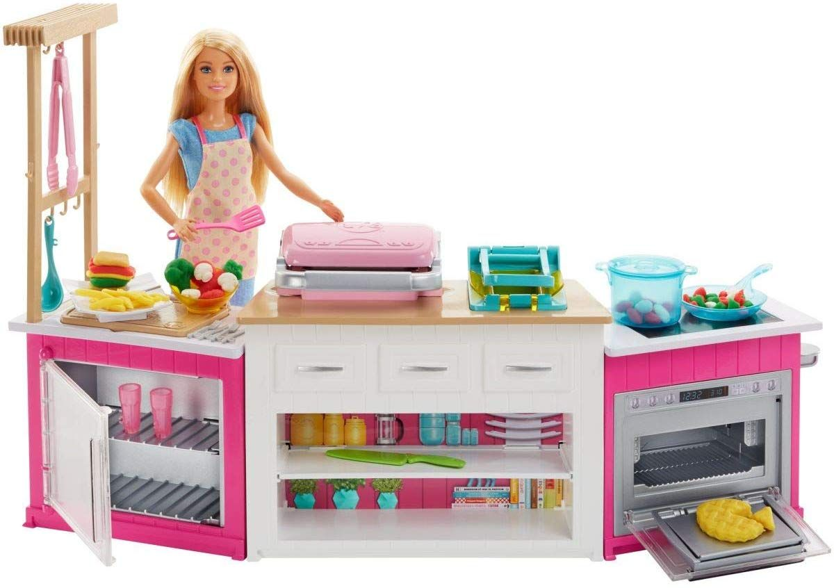 Игрален комплект Mattel Barbie - Кухнята на Барби, със звук и светлини - 9