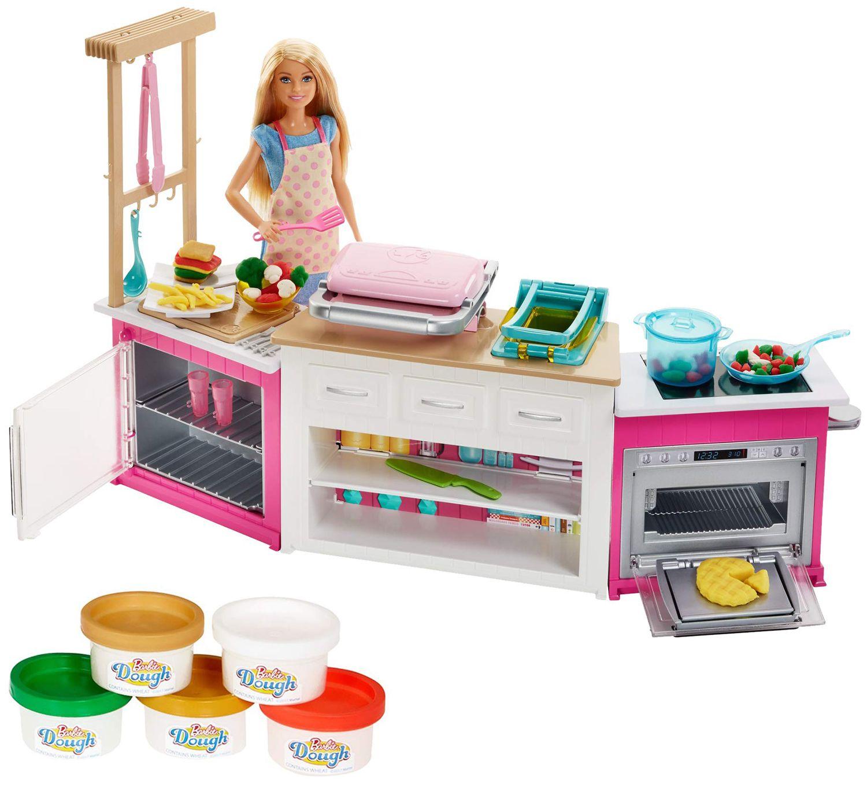 Игрален комплект Mattel Barbie - Кухнята на Барби, със звук и светлини - 1