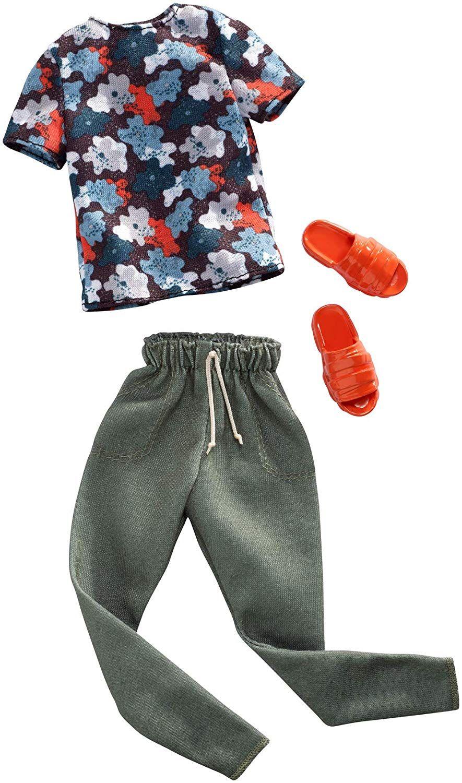 Дрехи за кукла Mattel Barbie - Тениска с панталон и чехли, за Кен - 1