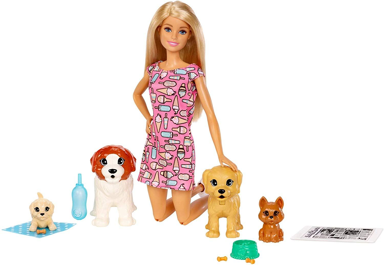 Игрален комплект Mattel Barbie - Барби с 4 кученца - 3