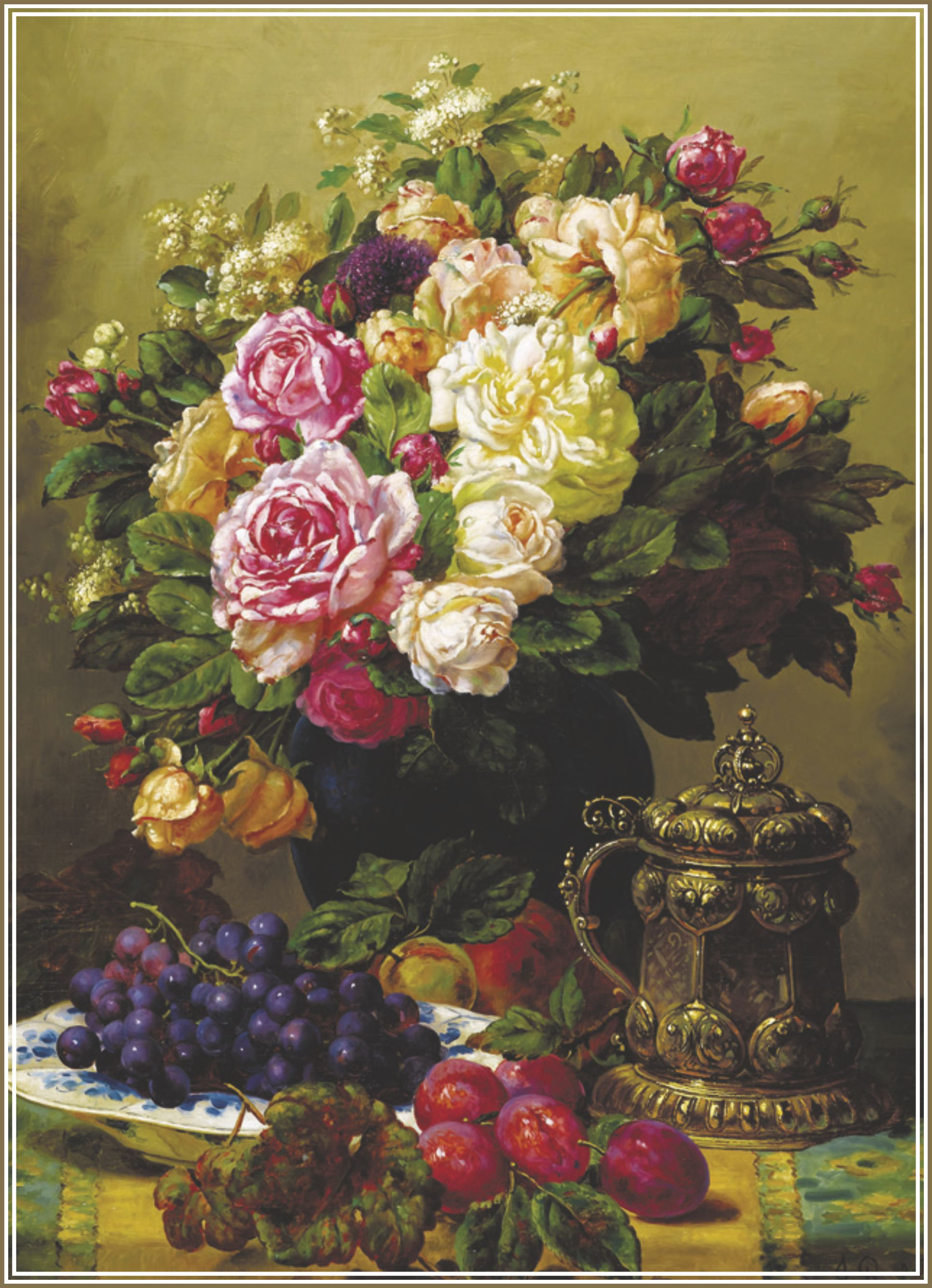 Пъзел Gold Puzzle от 1000 части - Рози и чиния с грозде и сливи - 1