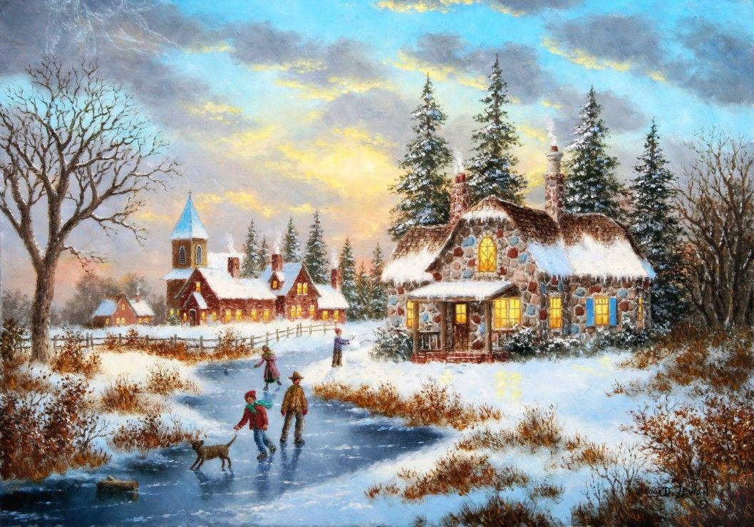 Пъзел Grafika от 1000 части - Вечер в средата на зимата, Денис Люън - 1