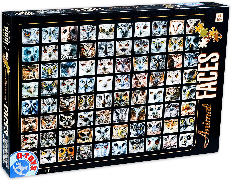 Пъзел D-Toys от 1000 части - Животински лица, Сови - 1