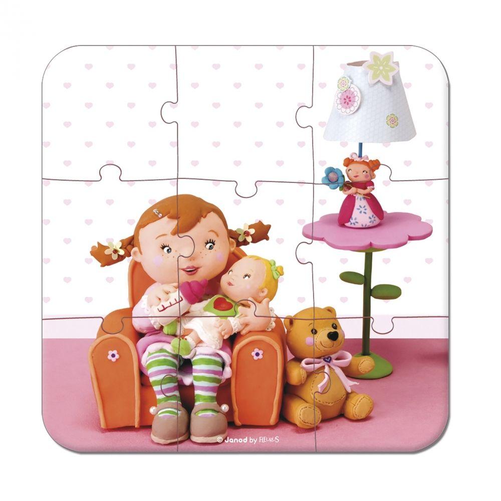 Комплект от 4 пъзела Janod - Лилу играе с кукли - 2