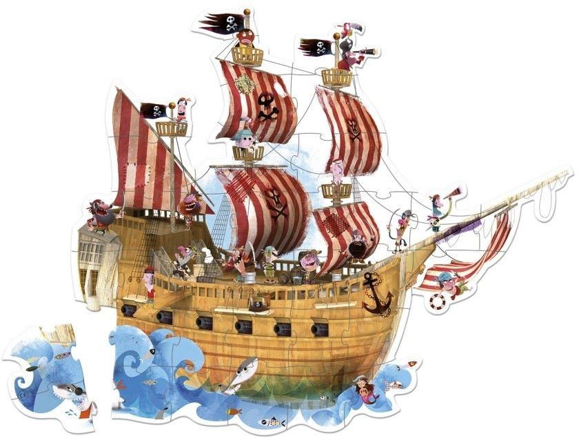 Детски гигантски пъзел за под Janod - Пиратски кораб, в куфар - 2