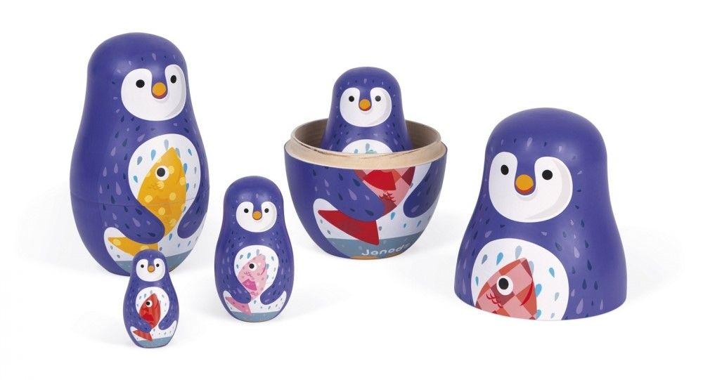 Дървена играчка Janod - Матрьошка, пингвин - 3