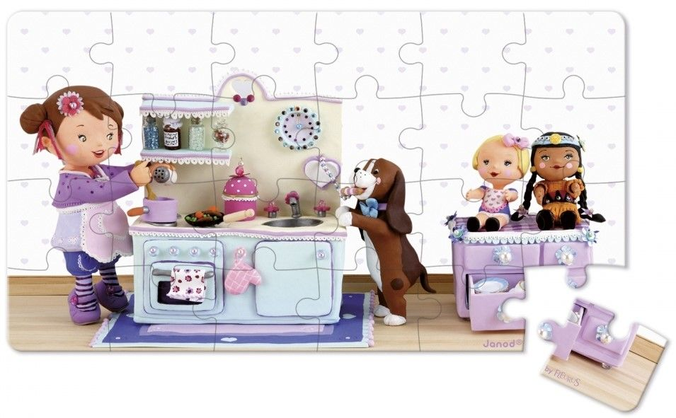 Детски пъзел Janod Lovely Puzzles - Лола си играе на чаено парти - 3