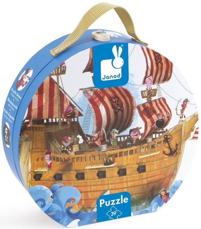 Детски гигантски пъзел за под Janod - Пиратски кораб, в куфар - 1