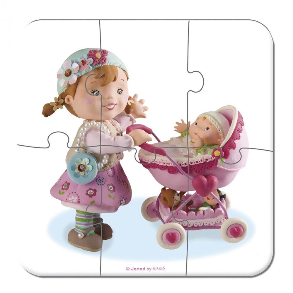 Комплект от 4 пъзела Janod - Лилу играе с кукли - 3