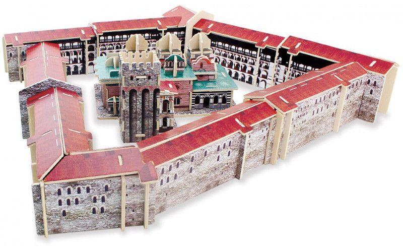 Дървен 3D пъзел Robo Time от 138 части – Рилски манастир - 1