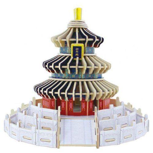 Дървен 3D пъзел Robo Time от 191 части – Храмът на небето в Бейджинг - 1