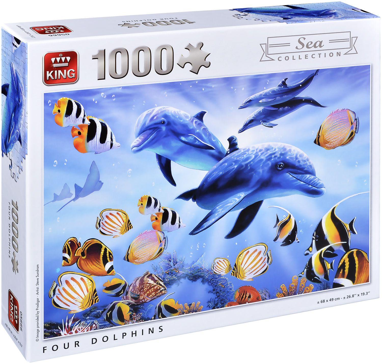 Пъзел King от 1000 части - Четири делфина, Стив Съндрам - 1