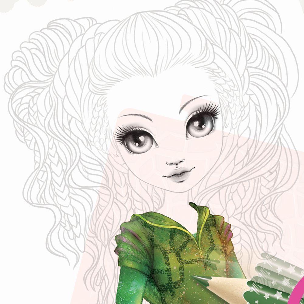 Книжка за рисуване Nebulous Stars - С шаблони и стикери, Моден дизайнер, Хазелия - 7