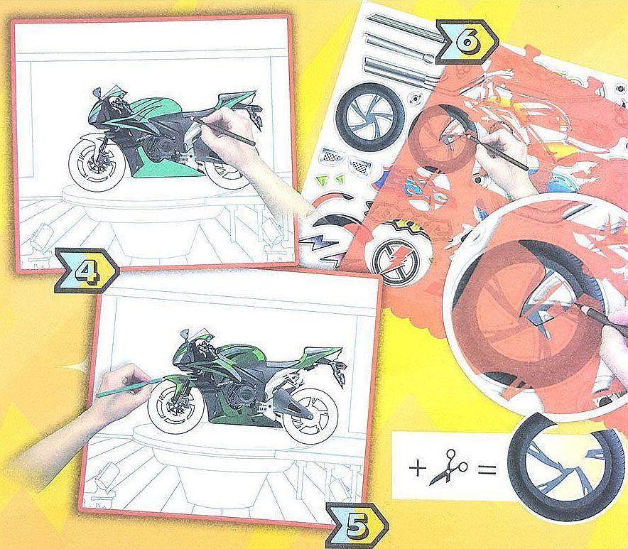 Книжка за рисуване със стикери и шаблони Folia - Мотори - 3