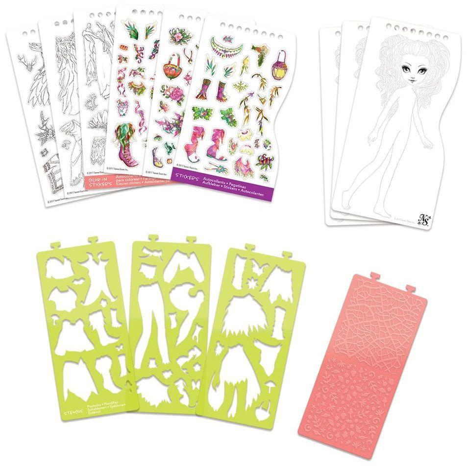 Книжка за рисуване Nebulous Stars - С шаблони и стикери, Моден дизайнер, Хазелия - 5