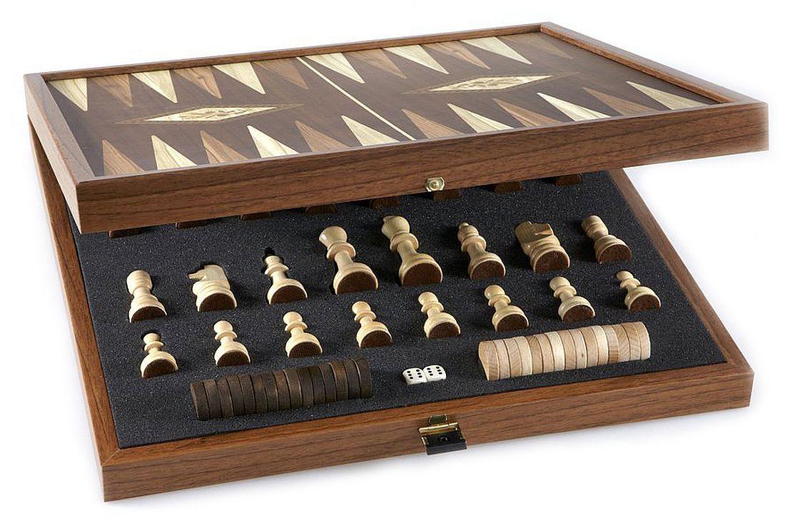 Комплект шах и табла Manopoulos - Цвят орех, 41 x 41 cm - 4