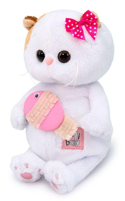 Плюшена играчка Budi Basa - Коте Ли-Ли бебе, с розова рибка, 20 cm - 2