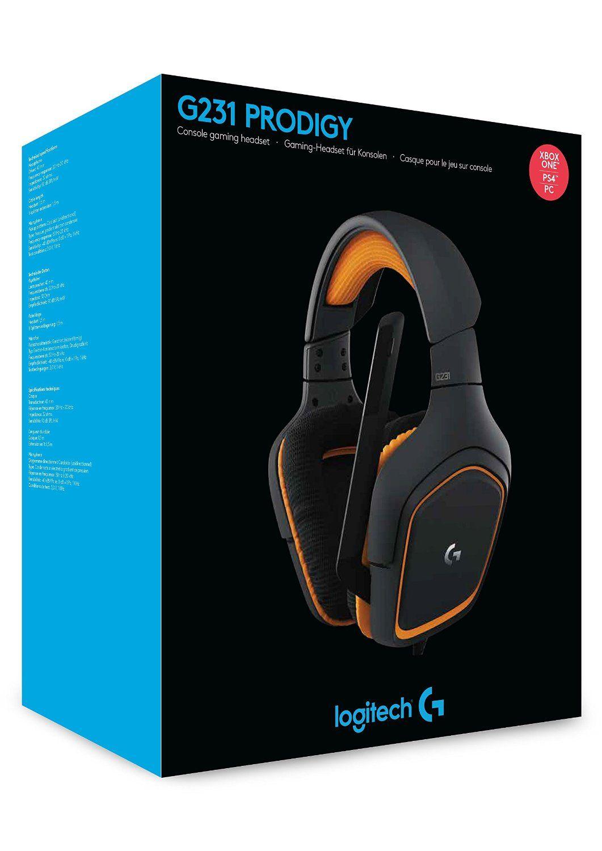 Гейминг слушалки Logitech G231 Prodigy - черни/оранжеви - 6
