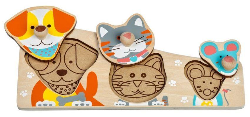 Дървен пъзел Lucy&Leo - Куче, коте и мишле, с дръжки - 1