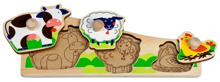 Дървен пъзел Lucy&Leo - Животните на село, с дръжки - 1