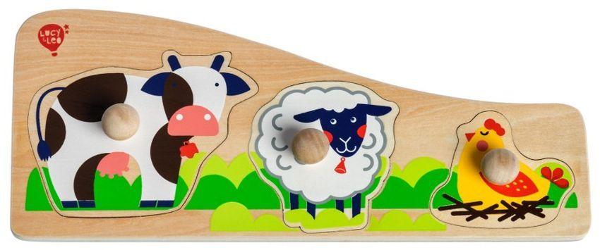 Дървен пъзел Lucy&Leo - Животните на село, с дръжки - 3