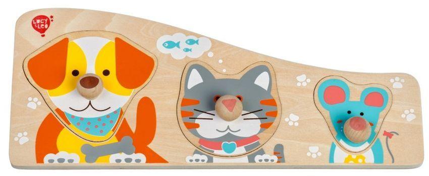 Дървен пъзел Lucy&Leo - Куче, коте и мишле, с дръжки - 4