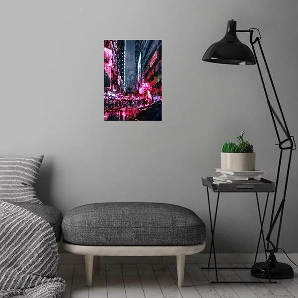 Метален постер Displate - Cyberpunk City - 3