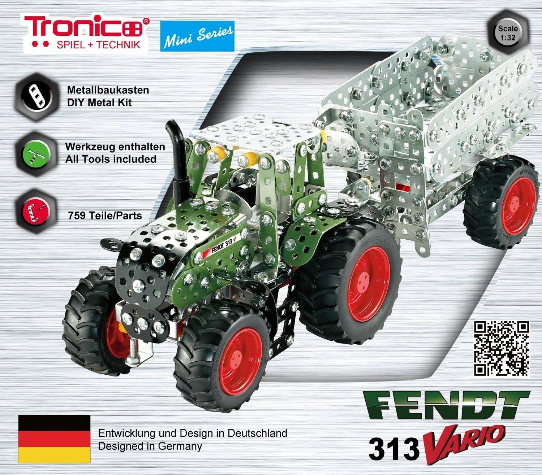 Метален конструктор Tronico - Мини серия, трактор с ремарке Fendt 313 Vario - 3