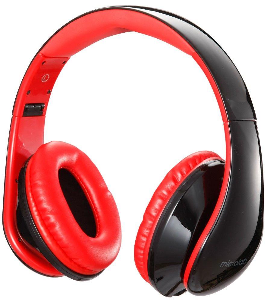 Слушалки с микрофон Microlab K360 - черни/червени - 2
