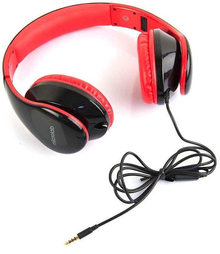 Слушалки с микрофон Microlab K360 - черни/червени - 4