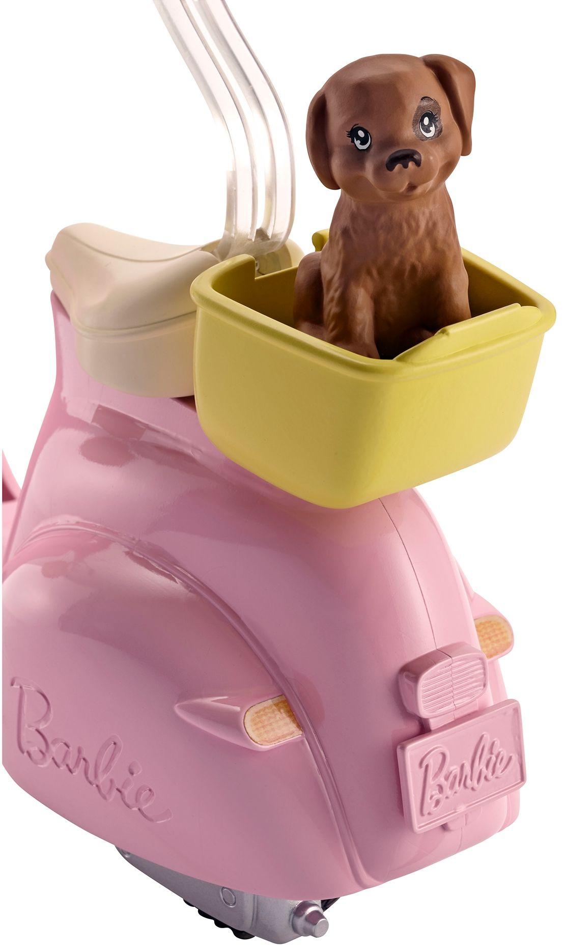 Игрален комплект Mattel Barbie - Мотопед с кученце - 3