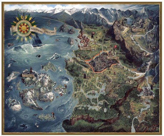 Пъзел Dark Horse от 1000 части - Witcher 3 Wild Hunt Northern Realms Map - 1