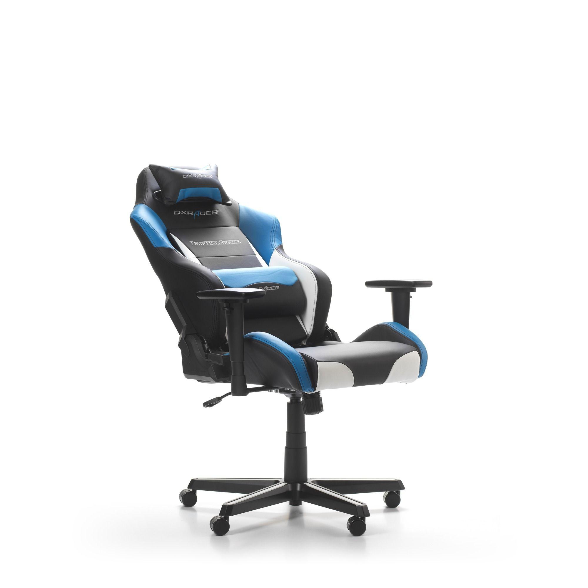 Геймърски стол DXRacer - серия DRIFTING, черен/бял/син - OH/DM61/NWB - 2