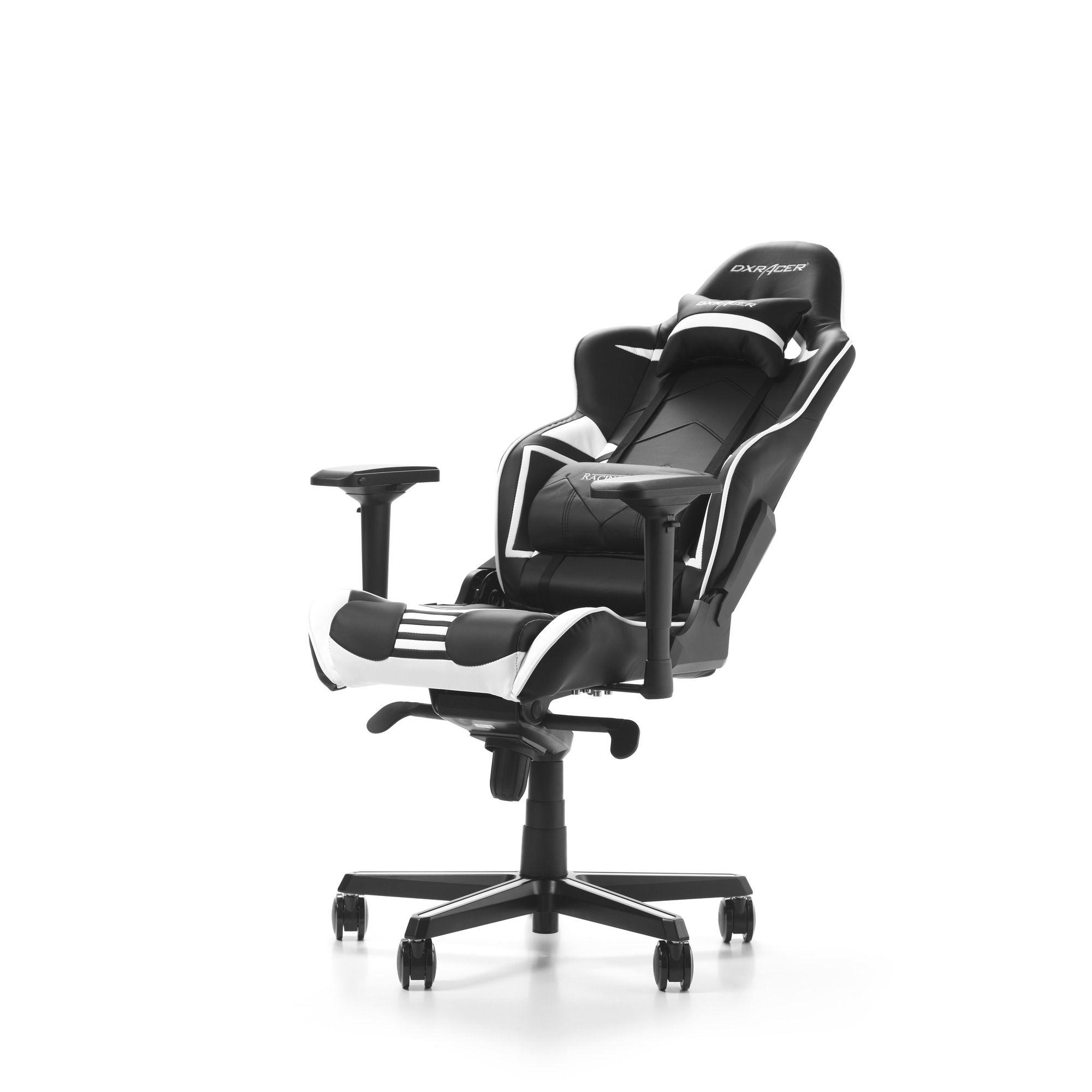 Гейминг стол DXRacer OH/RV131/NW - серия RACING V2, черен/бял - 2