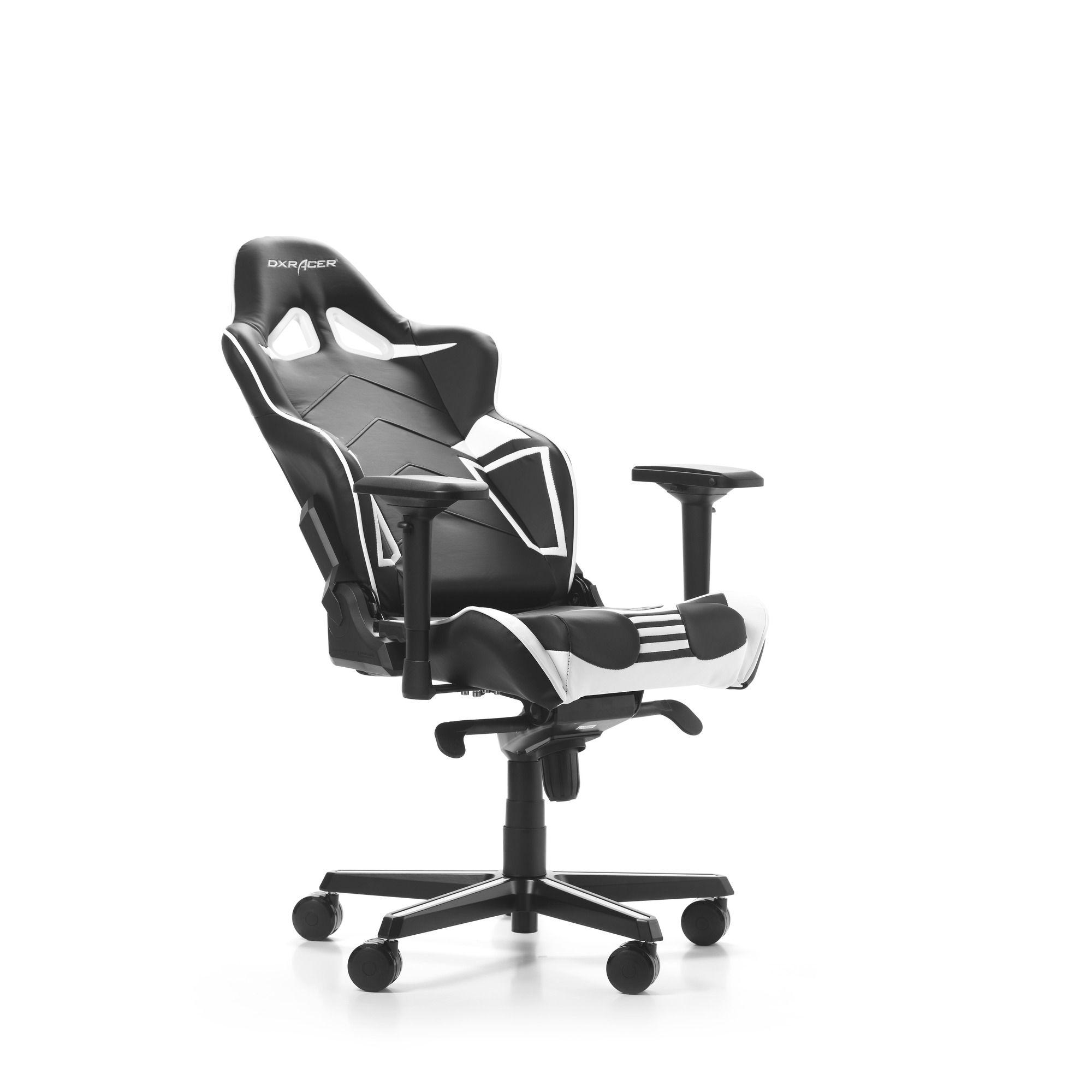 Гейминг стол DXRacer OH/RV131/NW - серия RACING V2, черен/бял - 5