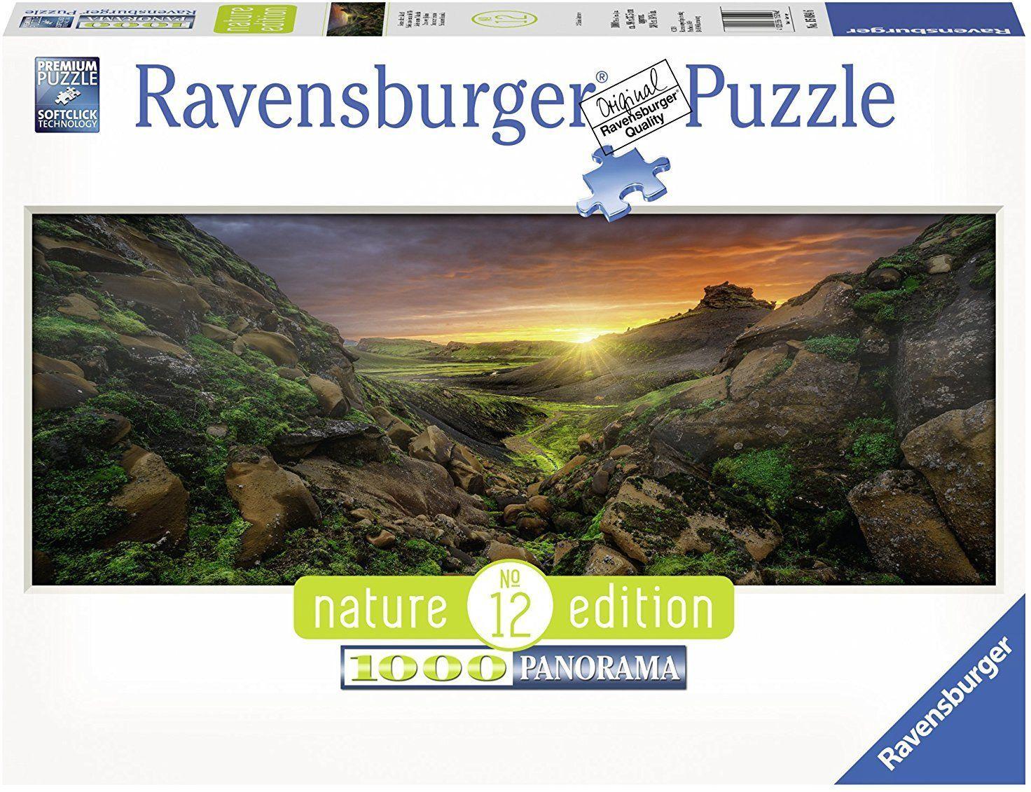 Панорамен пъзел Ravensburger от 1000 части - Слънце над Исландия - 1