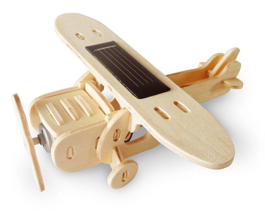 Дървен 3D пъзел Robo Time от 25 части – Соларен моноплан - 1