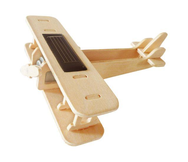 Дървен 3D пъзел Robo Time от 17 части – Соларен биплан - 1