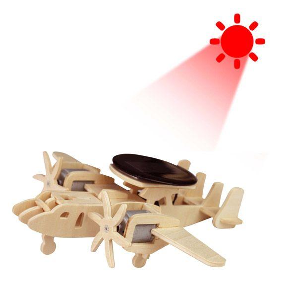Дървен 3D пъзел Robo Time от 21 части – Соларен самолет с далечно радиолокационно откриване и управление - 3