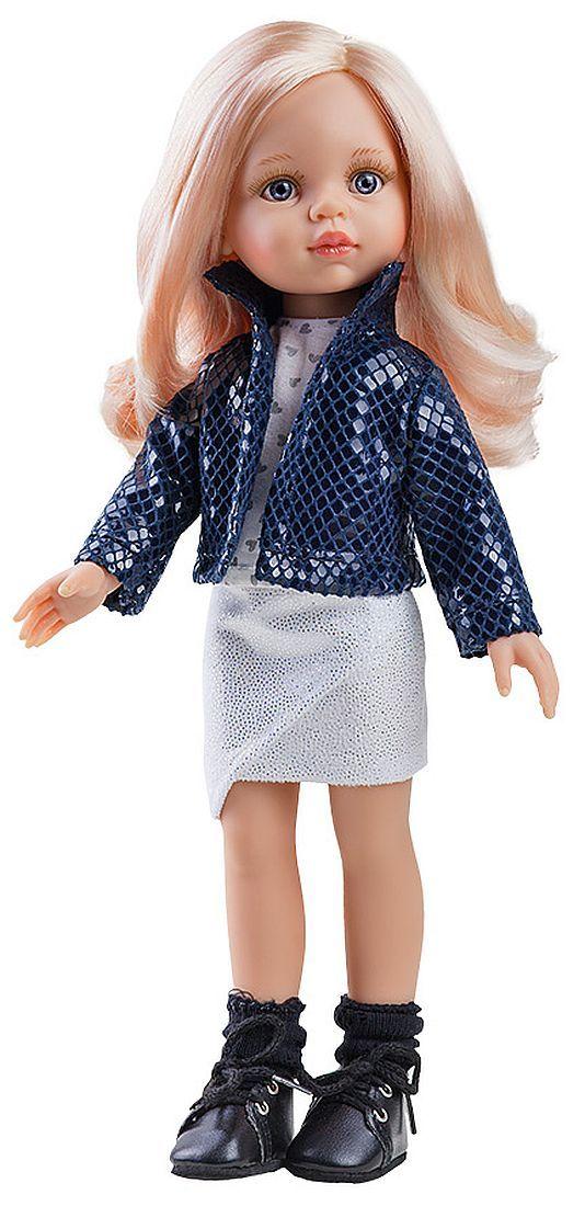 Комплект дрехи за кукла Paola Reina - Късо синьо яке и блузка на сърчица, 32 cm - 1