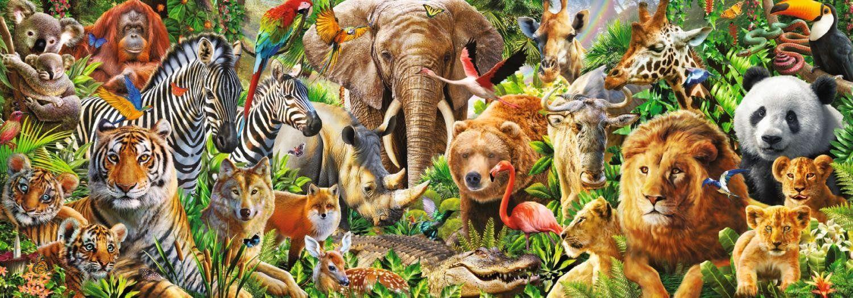 Панорамен пъзел Jumbo от 1000 части - Дивият живот в Африка - 2